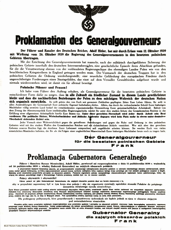 Official proclamation of the General-Government in Poland by Germany, October 1939