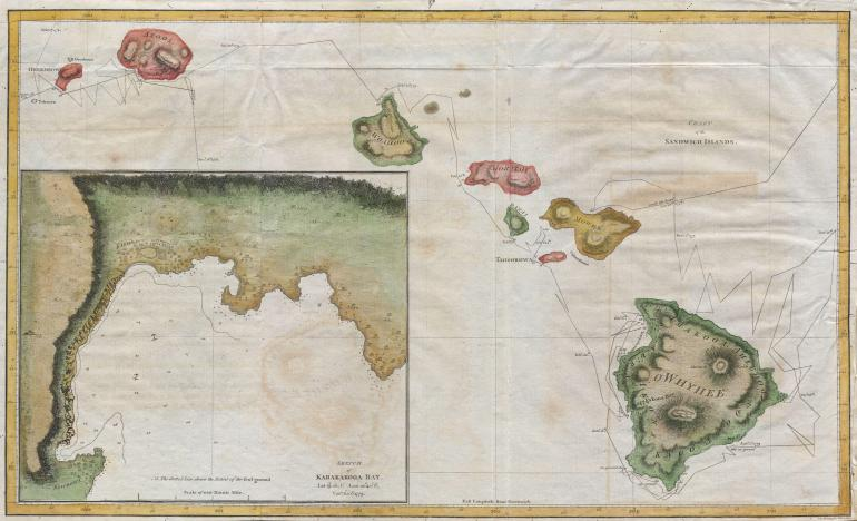 Map of the Hawaiian Islands (Sandwich Islands) printed by G. Nicol and T. Cadell for the 1785 edition of Captain James Cook and James King's, A Voyage to the Pacific Ocean…in the Years 1776, 1777, 1778, 1779, and 1780. Some claim this map was drawn by William Bligh, of Mutiny on the Bounty fame, while he was stationed as midshipman on Cook's fateful third voyage to the South Pacific. Others claim that this map was drawn by Henry Roberts – the Hydrographer of Cook's third expedition. The text of the Third Voyage credits Roberts, however, the British Hydrographical Office copy of the Official Account includes Bligh's journal where he claims to have drawn the maps. In the lower left there is a large inset of Karakakooa Bay and the villages there. It was here that Cook was killed by angry Hawaiians. This map represents a seminal moment in Hawaii cartography and is the basis upon which all subsequent maps of Hawaii were drawn.